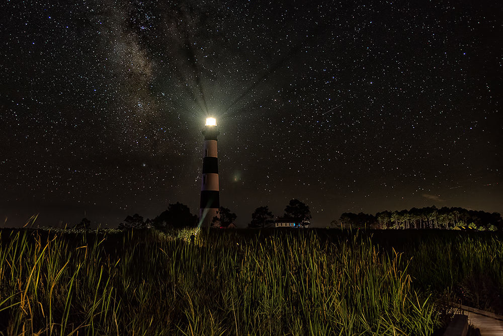 Bodie Island Lighthouse, Milky Way and Meteor