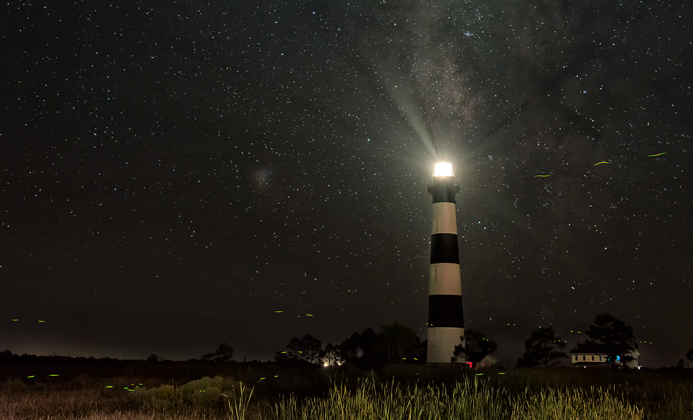 Bodie Island Lighthouse Milky Way and Fireflies